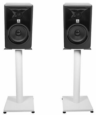 (2) JBL 305P MkII 5  Powered Studio Monitor Monitoring Speakers+White 21  Stands • 235.31£