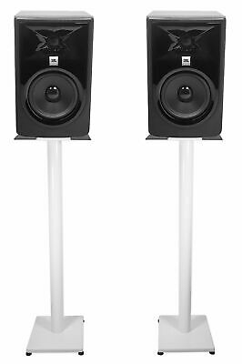 (2) JBL 305P MkII 5  Powered Studio Monitor Monitoring Speakers+White 37  Stands • 237.62£