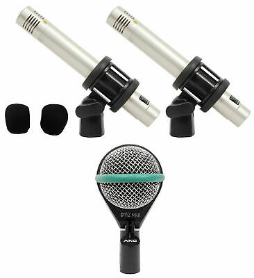 AKG D112 MKII Kick Drum Bass Guitar Microphone+Samson Pair Pencil Overhead Mics • 199.06£
