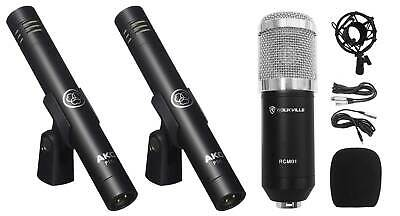 (2) AKG P170 Studio Pencil Microphones Instrument Drum Microphones+Condenser Mic • 133.83£