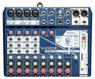 Soundcraft Notepad-12FX 12-Channel Recording Mixer W/ 4x4 USB DAW Interface + FX • 111.65£