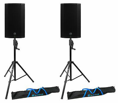 (2) Mackie Thump12A THUMP-12A 12  1300w Powered DJ PA Speakers+Crank-Up Stands • 513.71£