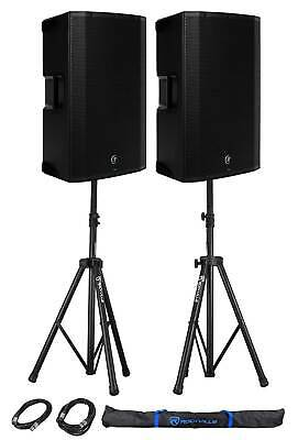 (2) Mackie Thump15BST THUMP-15BST 15  1300w Powered DJ PA Speakers+Stands+Cables • 752.88£