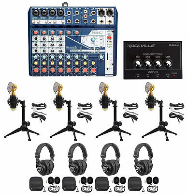 Soundcraft 4-Person Podcast Podcasting Recording Kit W/Mics+Headphones+Tripods • 340.91£