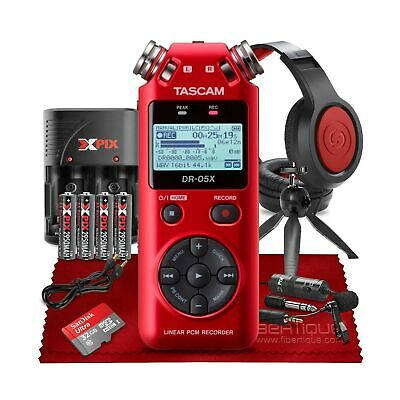 Tascam DR 05X Stereo Handheld Digital Audio Recorder USB Audio Interface Set Red