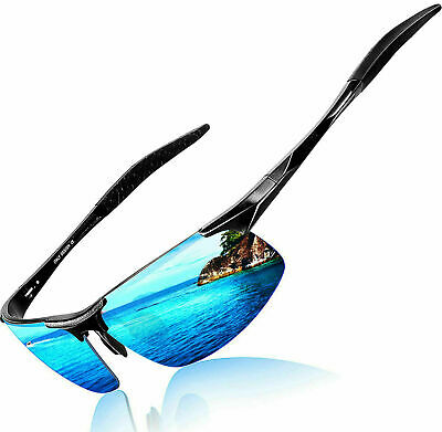 Men's Polarized Sunglasses UV Protection Al-Mg Metal Frame Glasses Gift • 10.99£