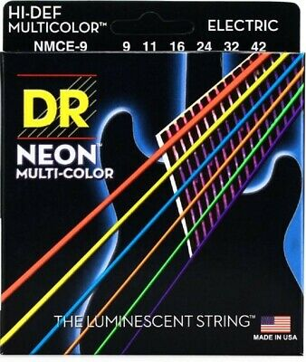 NEW DR Strings Hi-Def Multi-Color Neon Guitar Strings, 9-42, NMCE-9 • 8.24£