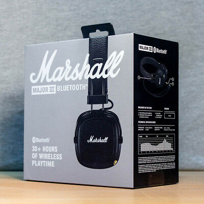 New Marshall Major 3 Main III Bluetooth Microphone Music Headset / Black UK • 47.99£