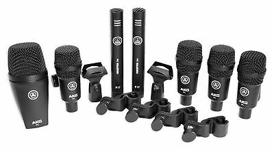 AKG Drum Set Session I (7) Microphone Kit W/ Bass/Overhead/Snare/Tom+Clamps+Case • 241.34£