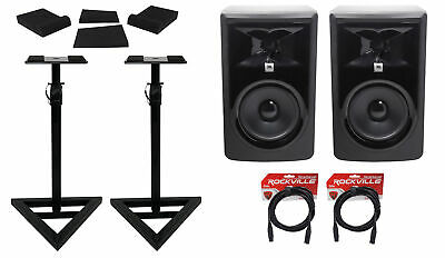 (2) JBL 306P MkII 6  Powered Studio Reference Monitors+Stands+Pads+XLR Cables • 310.76£