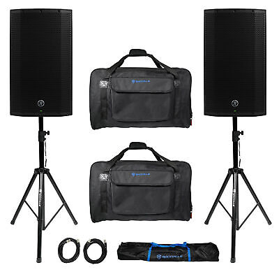(2) Mackie Thump12A THUMP-12A 12  2600w Powered DJ PA Speakers+Carry Bags+Stands • 542.66£