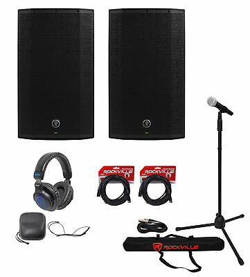 2) Mackie Thump12A 12  1300w Powered DJ PA Speakers+Headphones+Mic+Stand+Cables • 473.91£