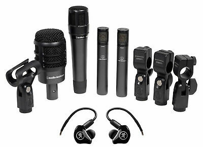 Audio Technica ATM-DRUM4 Drum Microphones W/Kick/Snare/Overheads+Mackie Monitors • 388.40£