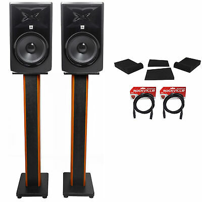 (2) JBL 306P MkII 6  Studio Monitors+36  Stands+Isolation Pads+XLR Cables • 301.64£
