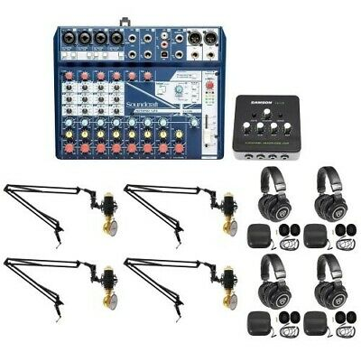 Soundcraft 4-Person Podcast Podcasting Recording Kit W/Mics+Headphones+Boom Arms • 321.91£