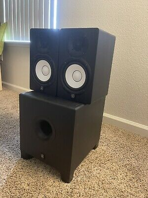 Black And White Yamaha Studio Monitors, HS5 And HS8S, New Condition Speakers • 503.47£