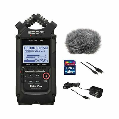 Zoom H4n Pro All Black 4-Track Portable Recorder (2020 Model) with Zoom AD-14...