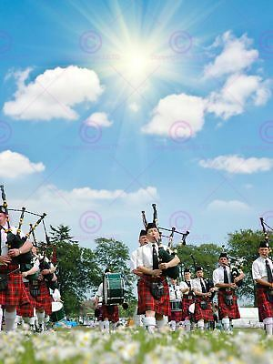 Photo Cultural Pipe Band Marching Sunshine Scotland Art Print Poster Mp3915a • 13.50£