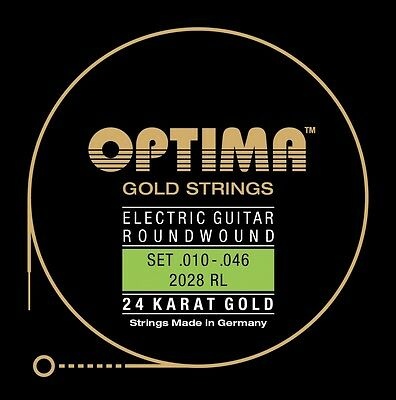 OPTIMA 24K GOLD STRINGS E-Gitarren Saiten SATZ, E-Guitar Strings SET, 2028 • 16.89£