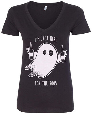 I'm Just Here For The Boos Women's V-Neck T-Shirt Halloween Drinking • 12.21£