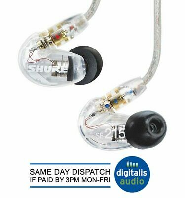 Shure SE215-CL Sound Isolating Earphones - Clear Earbuds Headphones NEW • 92£