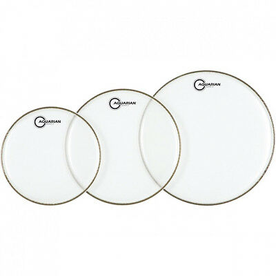 Aquarian Drum Skin Heads SUPER 2 CLEAR Fusion Sizes 10 +12 +14  2Ply Triple Pack • 44.99£