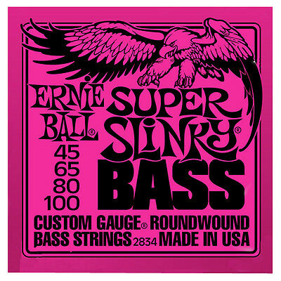2 X*4-string* Bass Guitar Strings 2834 Ernie Ball Super Slinky Roundwound 45-100 • 51.60£