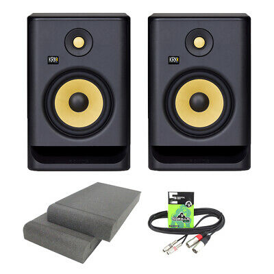 KRK Rokit RP7 G4 Active DJ Studio Monitor Speakers With Isolation Pads & Cable • 380£