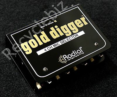 Radial Engineering Gold Digger 4 Channel Mic Selector Switch Studio • 239.18£