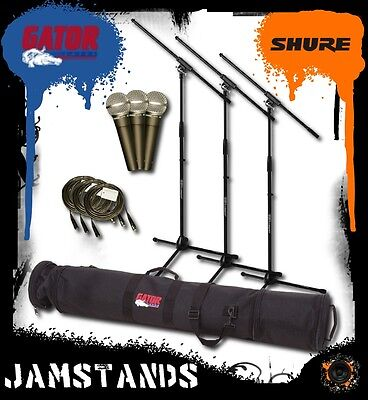 3pk Shure SM58-LC Mics, Stands, Cables Gator GX-33 Case! Free US 48 State Ship! • 312.90£