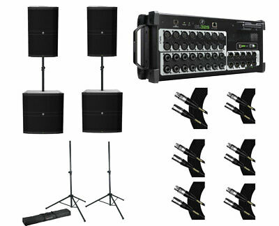 Mackie DRM215 (x2) + Mackie DL32S + Stands W/ Bag + Mogami Cables • 2,462£