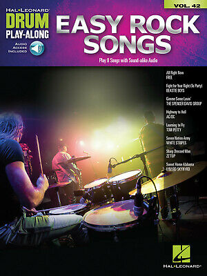 Easy Rock Songs Drum Play-Along Volume 42 Drum Kit  Book With Audio-Online HL001 • 12.99£