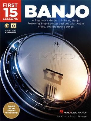 First 15 Banjo Lessons TAB Book/Audio/Video 5-String Learn To Play Method Guide • 8.74£