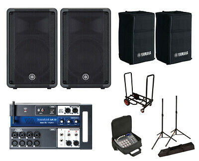 2x Yamaha DBR10 Active Speaker W/ Covers + Soundcraft Ui12 W/ Bag +Stands +Cart • 938.96£