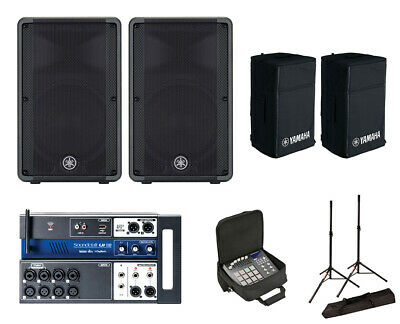2x Yamaha DBR12 Active Speaker W/ Covers + Soundcraft Ui12 W/ Bag + Stands • 1,011.81£