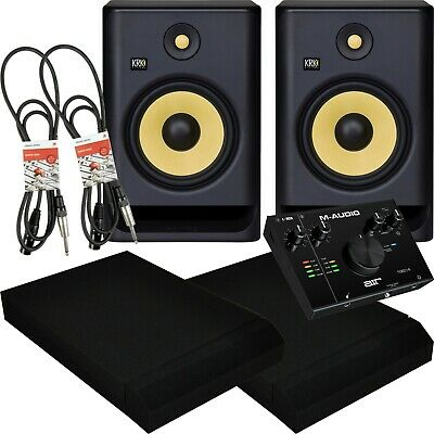 KRK Rokit RP7 G4 Active Studio Monitors Air 192/4 USB Interface Pads And Leads • 453£
