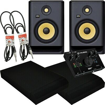 KRK Rokit RP7 G4 Active Studio Monitors Air 192/6 USB Interface Pads And Leads • 475£