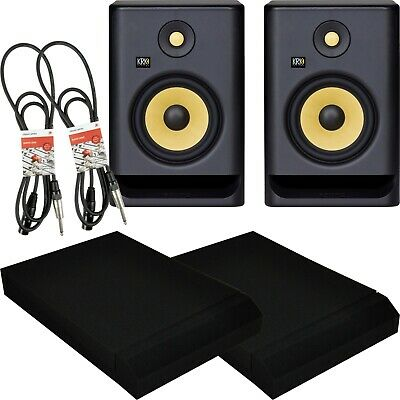 KRK Rokit RP7 G4 Active Studio Monitors With Isolation Pads And Pro Cables • 379£