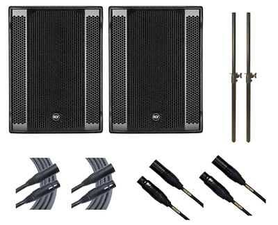 2x RCF SUB 8003-AS II Subwoofer Active Sub + Mogami Cables + Mounting Poles • 3,233.84£