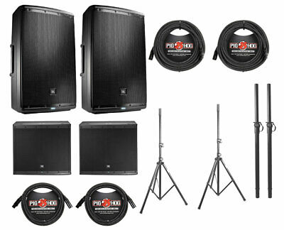 2x JBL EON615 1000 Watt Powered Active Speaker+2x JBL EON618S+Poles+Stands+Cable • 2,288.83£