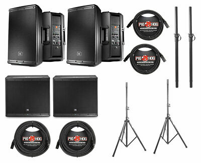 2x JBL EON612 1000 Watt Powered Active Speaker+2x JBL EON618S+Poles+Stands+Cable • 2,202.21£