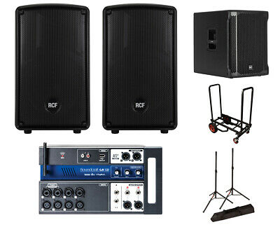 2x RCF HD 10-A MK4 Active Speaker + Sub 705-AS II + Soundcraft Ui12 + Stands + C • 1,411.11£
