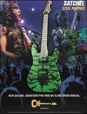 Steel Panther Satchel Signature Charvel Pro-Mod DK Slime Green Bengal Guitar Ad • 3.03£
