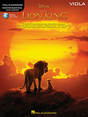 The Lion King Disney Movie For Viola Sheet Music 9 Solos Play-Along Book & Audio • 10.85£
