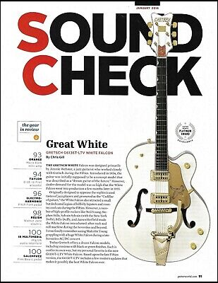 Gretsch G6136T-LTV White Falcon Guitar Sound Check Review 2-page 2016 Article • 2.76£
