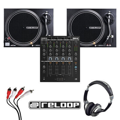 Reloop RMX-44 BT Mixer + RP-4000 MK2 Turntable (Pair) With Headphones + Cable • 809£