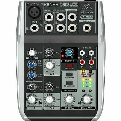 Behringer Q502 USB Xenyx Premium 5 Input, 2 Bus Mixer With Traktion 4 Audio P... • 45.99£