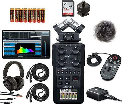 Zoom New H6 All Black Six-Track Portable Recorder With Zoom APH-6 Accessory For • 399.84£