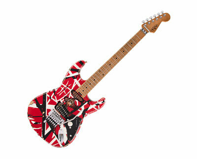 Used EVH Striped Series Frankie - Red/White/Black Relic W/ Maple FB • 1,251.48£